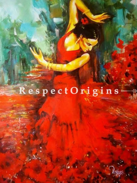 Dancing Lady In Red;Painting - 24In x 36In Acrylic On Canvas