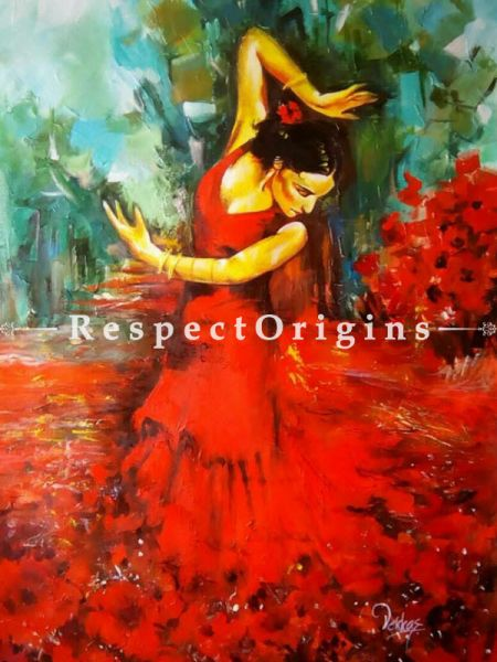 Beautiful Painting of Dancing Lady Made of Acrylic on Canvas  |Buy Beautiful Painting of Dancing Lady Made of Acrylic on Canvas   Online|RespectOrigins