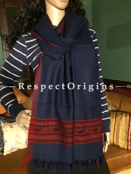 Buy Dark Blue Hand woven Woolen Kullu Stoles From Himachal with maroon borders; Size 80 x 27 inches at RespectOrigins.com
