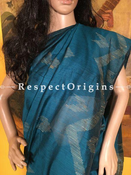 Dark Blue; Handloom; Cotton Silk; Saree, RespectOrigins.com