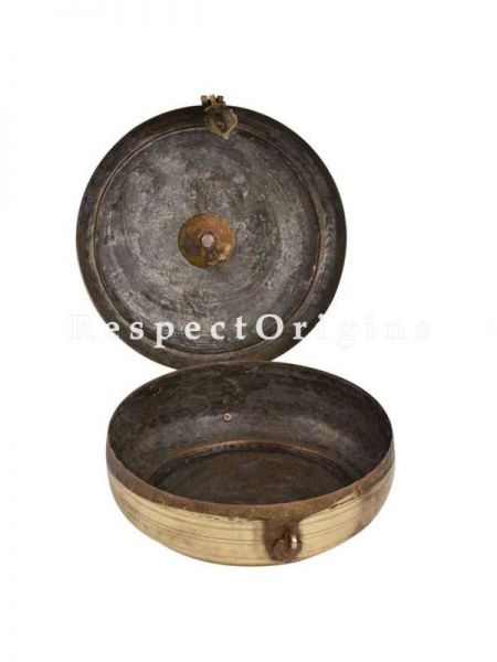 Buy Round Ethnic Brass Roti, Tortella Box, Collectibles, Keepsake Box, With Latch and Handle At RespectOrigins.com