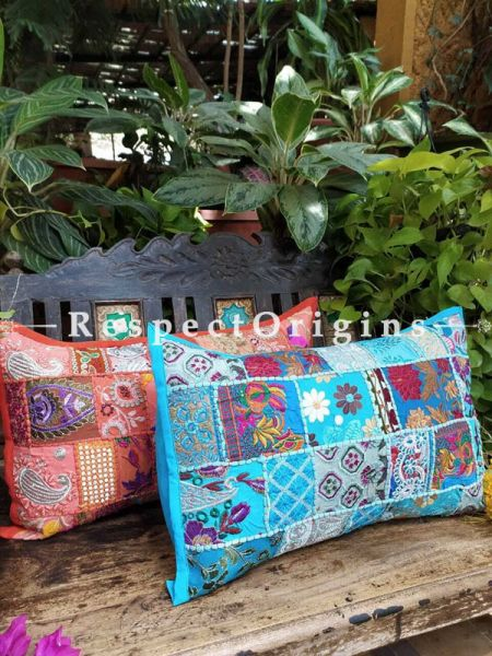 Decorative Brown and Blue Lumbar Throw Embroidered Cushion Covers Pair Christmas Gift Set; Cotton; Dry Clean Only; 25x15 inches; RespectOrigins.com