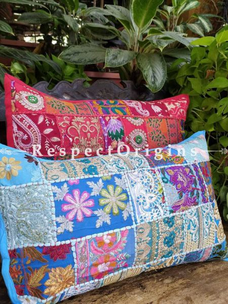 Decorative Red and Blue Lumbar Throw Embroidered Cushion Covers Pair Christmas Gift Set; Cotton; Dry Clean Only; 25x15 inches; RespectOrigins.com