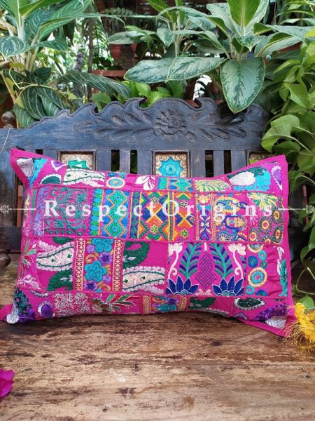 Decorative Pink and Blue Lumbar Throw Embroidered Cushion Covers Pair Christmas Gift Set; Cotton; Dry Clean Only; 25x15 inches; RespectOrigins.com