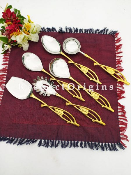 Alexis Designer Handcrafted Serving Spoons Set of 6; Earthy Brass Gold-Coated Handles for Dining Gift Set; 11 Inches; RespectOrigins.com