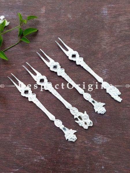 Ornate Designer High Quality Fruit Fork Gift Boxed Set of 4 Pcs; 6 Inches; RespectOrigins.com