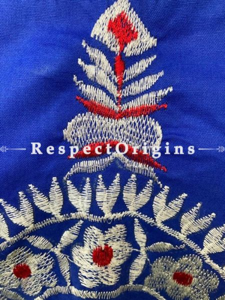 Designer Mix n Match One-of-a-kind Bengali Embroidered Choli Blouse in Blue; Size 40; RespectOrigins.com
