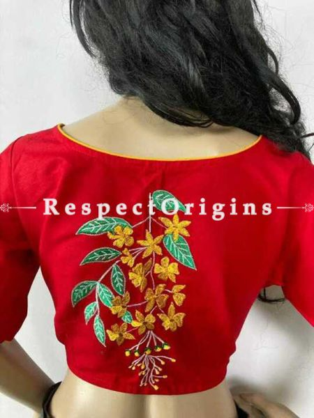 Designer Mix n Match One-of-a-kind Bengali Embroidered Choli Blouse Red; Size 40; RespectOrigins.com