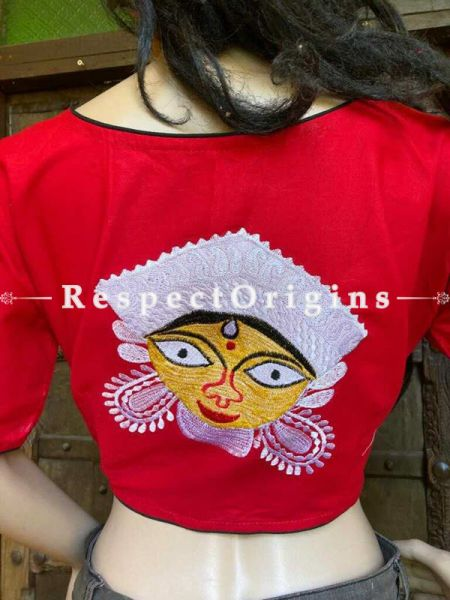 Designer Mix n Match One-of-a-kind Bengali Embroidered Choli Blouse Red; Size 38; RespectOrigins.com