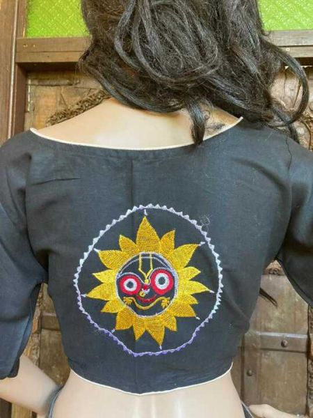 Designer Mix n Match One-of-a-kind Bengali Embroidered Choli Blouse in Black; Size 40; RespectOrigins.com