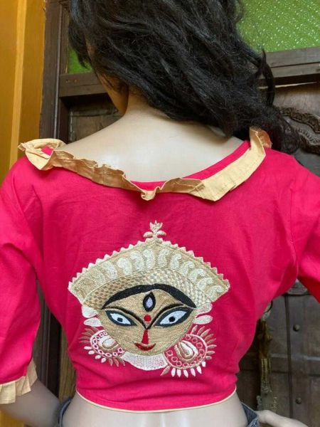 Designer Mix n Match One-of-a-kind Bengali Embroidered Choli Blouse in Pink; Size 40; RespectOrigins.com