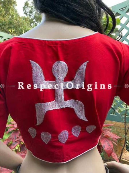 Designer Mix n Match One-of-a-kind Bengali Embroidered Cotton Choli Blouse  Red; Size 40; RespectOrigins.com