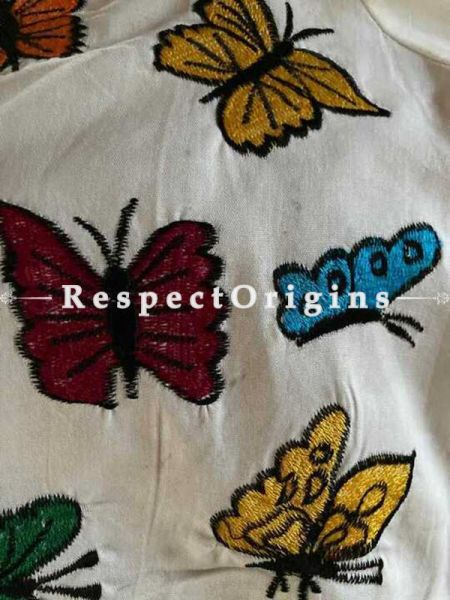 Designer Mix n Match One-of-a-kind Bengali Embroidered Cotton Choli Blouse  Beige; Size 40; RespectOrigins.com