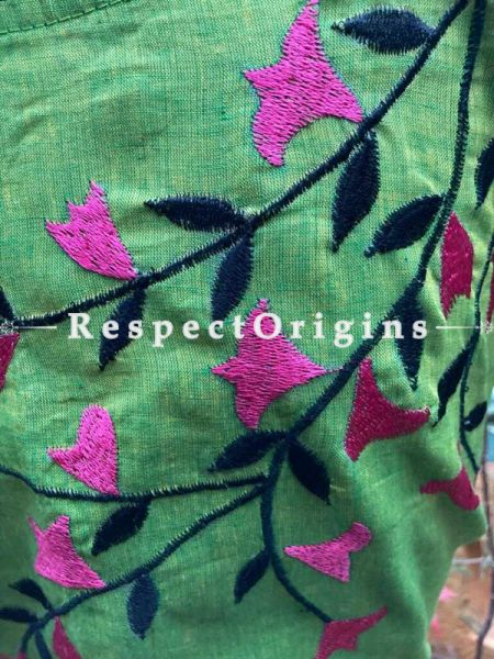 Designer Mix n Match One-of-a-kind Bengali Embroidered Cotton Choli Blouse  Green; Size 40; RespectOrigins.com