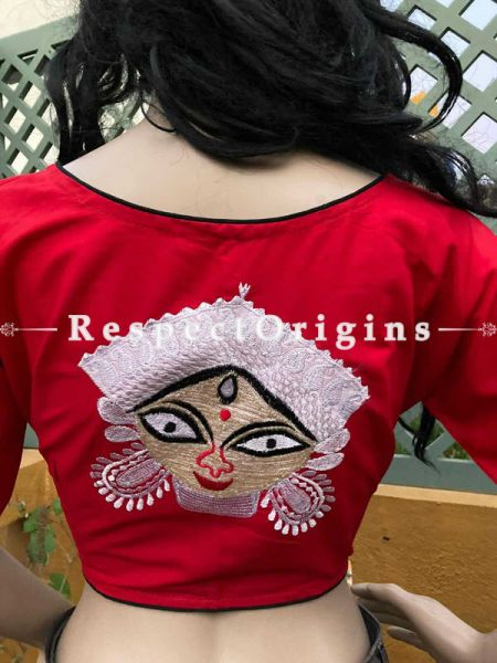 Designer Mix n Match One-of-a-kind Bengali Embroidered Choli Blouse in Red; Size 40; RespectOrigins.com