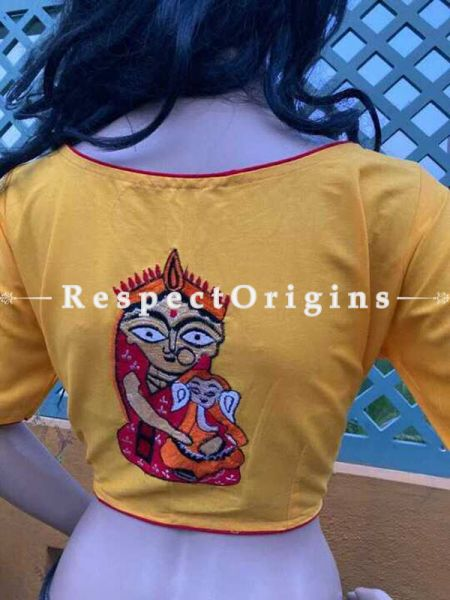 Designer Mix n Match One-of-a-kind Bengali Embroidered Choli Blouse in Yellow; Size 40; RespectOrigins.com