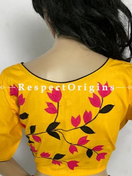 Designer Mix n Match One-of-a-kind Bengali Embroidered Choli Blouse Yellow; Size 38; RespectOrigins.com