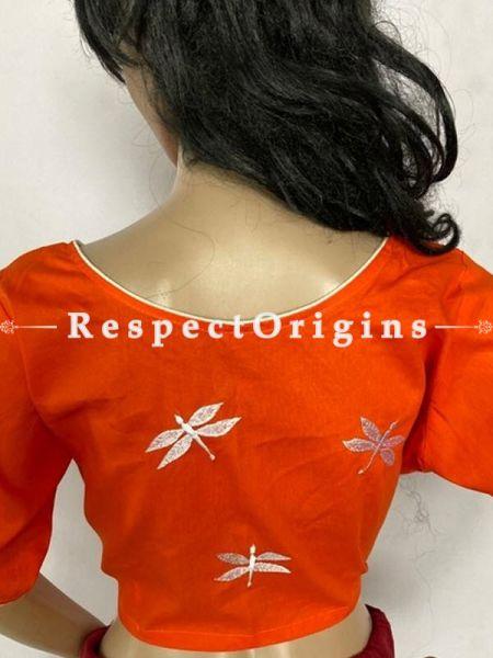 Designer Mix n Match One-of-a-kind Bengali Embroidered Choli Blouse Orange; Size 40; RespectOrigins.com