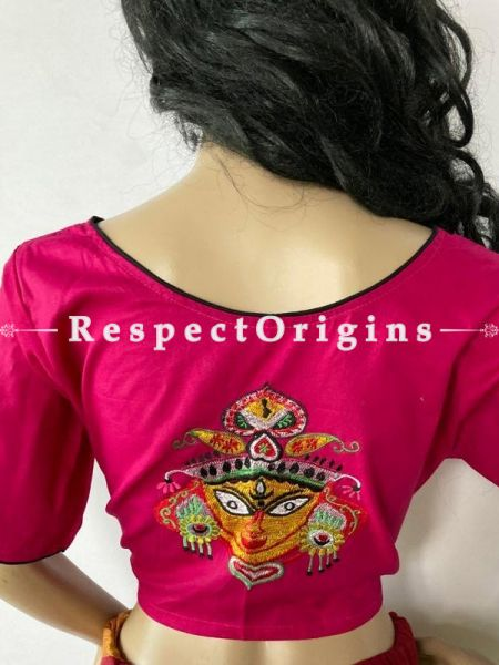 Designer Mix n Match One-of-a-kind Bengali Embroidered Choli Blouse  Pink; Size  38; RespectOrigins.com