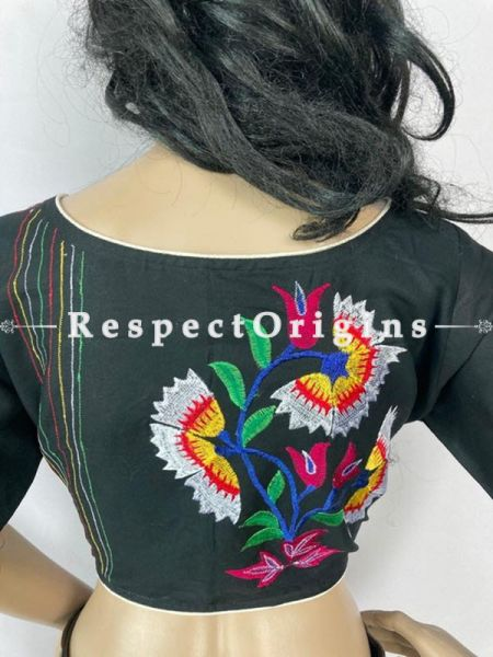 Designer Mix n Match One-of-a-kind Bengali Embroidered Choli Blouse Black; Size 40; RespectOrigins.com