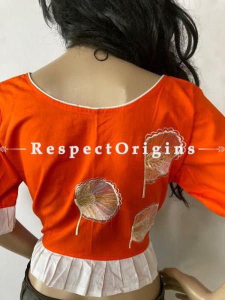 Designer Mix n Match One-of-a-kind Bengali Embroidered Cotton Choli Blouse  Orange; Size 40; RespectOrigins.com