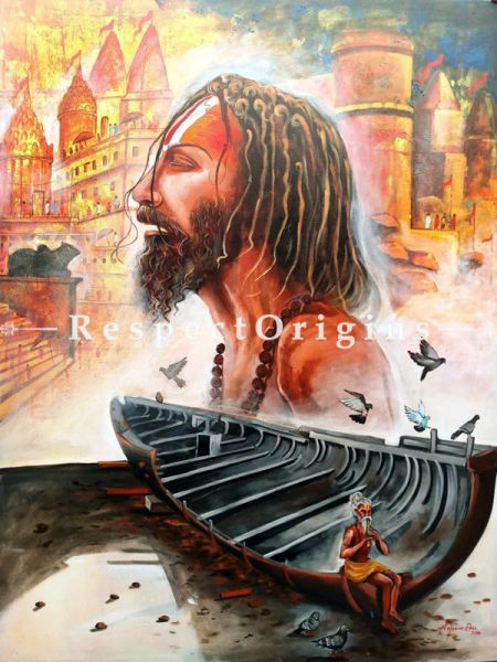 Vertical Art Painting of Devotion of Banaras ghat) ;Acrylic on Canvas; 36in X 48in at RespectOrigins.com