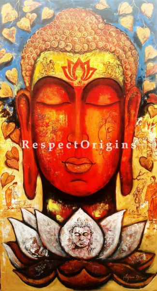 Vertical Art Painting of Devotion of Buddha #4;Acrylic on Canvas; 33in X 60in at RespectOrigins.com