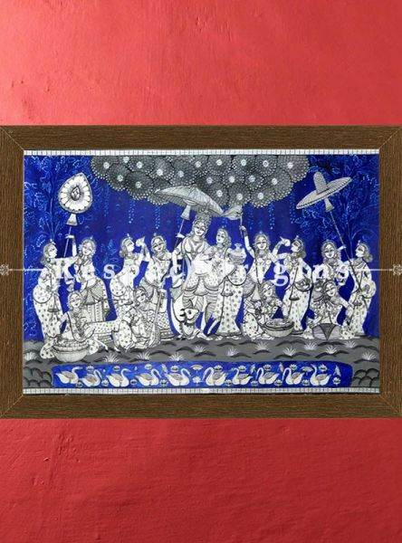 Dance of Devotion Pattachitra Katha; Canvas Large Horizontal Folk Art Painting; Odisha 24x40