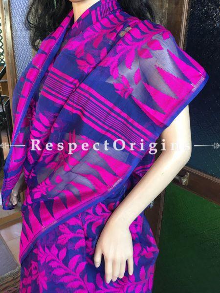Dhakai Mul Cotton Saree; Handloom; Purple, RespectOrigins.com