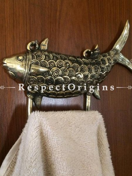 Buy Dhokra Brass Fish Designed Hanger with two Hooks at RespectOrigins.com