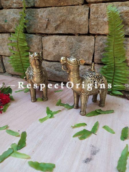 Handmade Brass Tribal Bastar Dhokra art Camel; 5 Inches; RespectOrigins.com