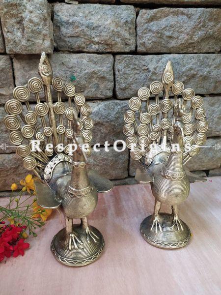 Set of 2 Handmade Tribal Bastar Brass Dhokra art Peacock; 9 Inches ; RespectOrigins.com