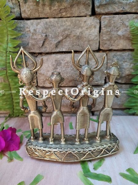 Handmade Brass Set of Tribal Dhokra Art Dancers and Musicians; 7 Inches; RespectOrigins.com