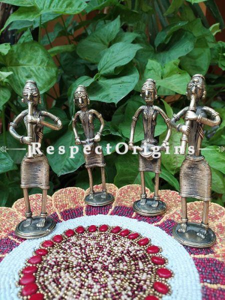 Tribal Dhokra Art Musicians Set of 4 Brass; 6 Inches; RespectOrigins.com
