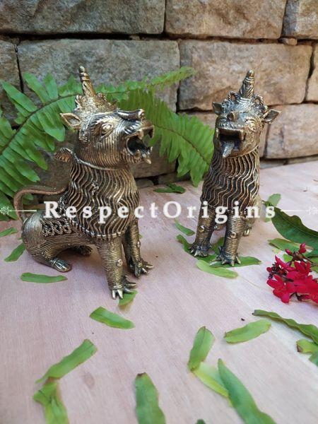 Handmade Brass Tribal Bastar Dhokra art Lion Set of 2; 6 Inches; RespectOrigins.com