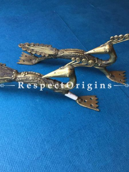 Pair of Hand Casted Brass Peacock Dhokra Door Handles; W2xH4xL11 Inches; RespectOrigins.com