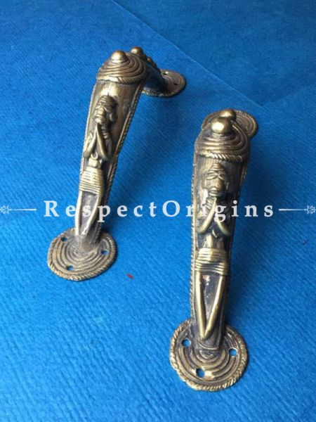 Pair of Hand Casted Tribal Dhokra Door Handle; 9 Inches; RespectOrigins.com