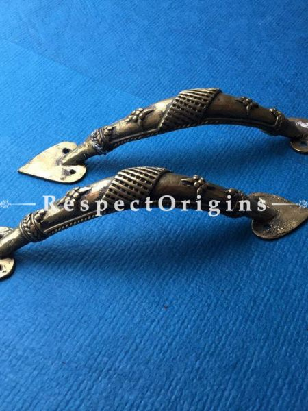 Pair of Hand Casted Tribal Dhokra Door Handles; 9 Inches; RespectOrigins.com