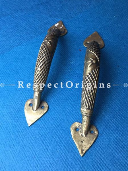 Pair of Hand Casted Tribal Dhokra Brass Door Handles; 1x9 Inches; RespectOrigins.com