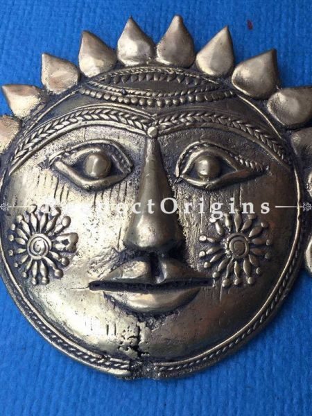 Hand Casted Dhokra Tribal Mask Wall Hanging; 6 Inches; RespectOrigins.com