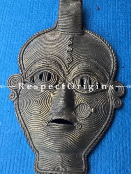 Hand Casted Dhokra Tribal Mask Wall Art; H6xW4.5 Inches; RespectOrigins.com