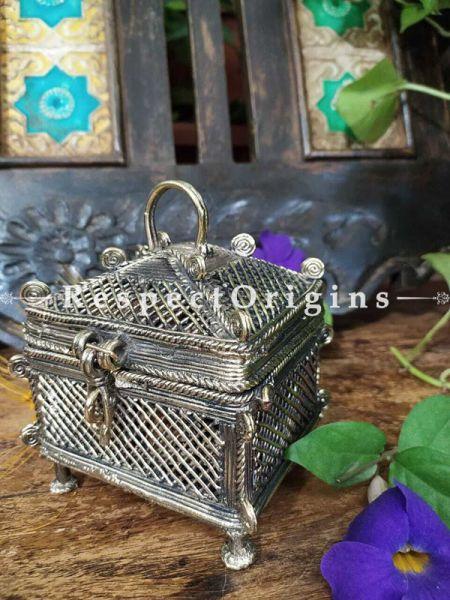 Treasure Collectible Jaali Filigree-work Box Dhokra Gift; RespectOrigins.com