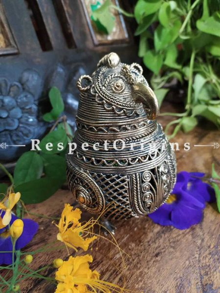 Gorgeous Birdie Oval Treasure Gift Box; Dhokra; RespectOrigins.com
