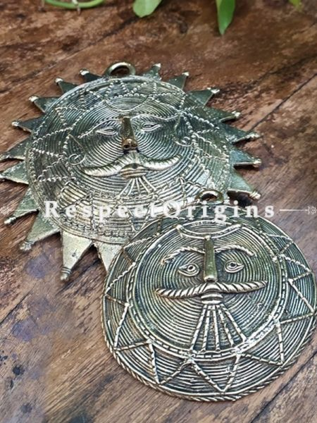 Sun & Moon Wall Plate Gift Set in Dhokra; 5 Inches; RespectOrigins.com