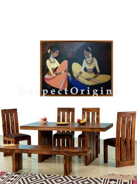 Buy Dining Table With 4 Chairs And 1 Bench; Wood At RespectOrigins.com
