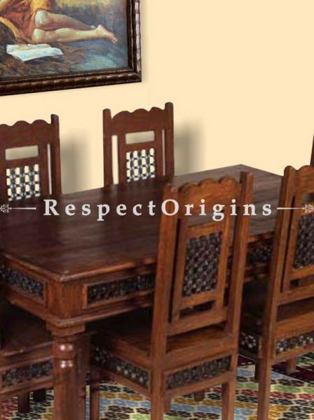 Buy Arthur Dining Set with Table and Six Chairs. Handcrafted Vintage Solid Wood. At RespectOrigins.com