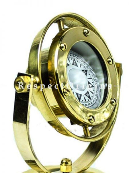 Buy 5Inches Brass Gimbals Nautical Fully Functional Directional Compass with Wooden Base Stand & Rotating Axis; Maritime Gift Decor At RespectOrigins.com