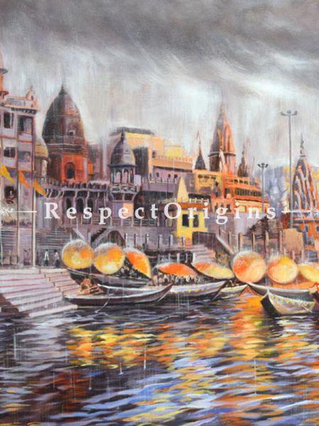 Divine Varanasi ; Acrylic on Canvas ; 30X20 In ; Horizontal Painting|RespectOrigins.com