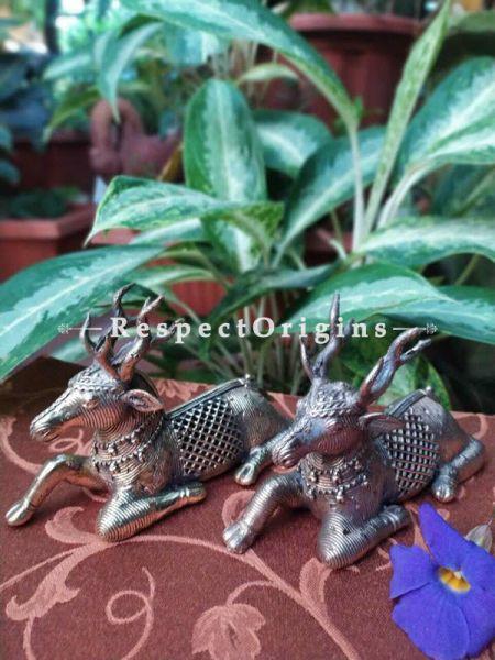 Tribal Dhokra Art Antelope Set of 2 Brass; 4 Inches; RespectOrigins.com