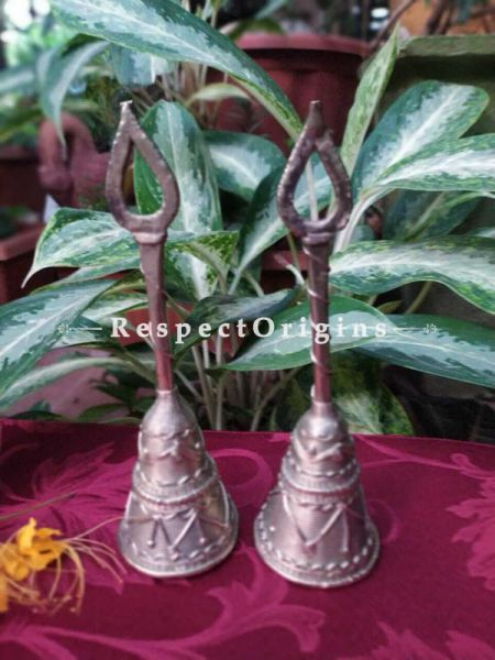 Tribal Dhokra Art Bell Set of 2 Brass; 8 Inches; RespectOrigins.com